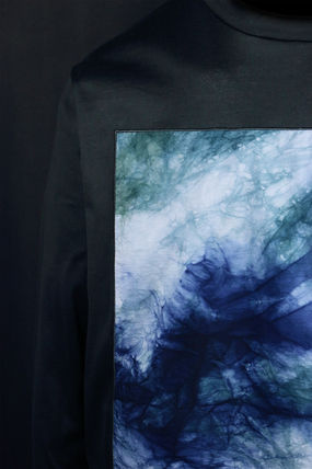 Crew Neck Pullovers Tie-dye Long Sleeves Plain Cotton