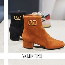 VALENTINO Casual Style Suede Plain Block Heels Chelsea Boots Handmade