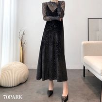 Velvet Long Sleeves Plain Long Party Style High-Neck