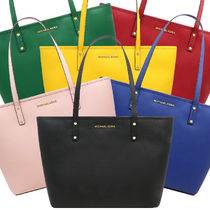 Michael Kors JET SET TRAVEL A4 Plain Leather Office Style Totes