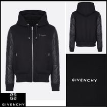 GIVENCHY Blended Fabrics Long Sleeves Plain Leather Hoodies