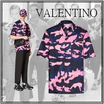 VALENTINO Button-down Camouflage Street Style Cotton Short Sleeves