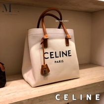CELINE Horizontal Cabas Casual Style Calfskin A4 Office Style Shoulder Bags