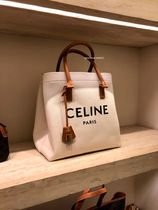 CELINE Horizontal Cabas Casual Style Calfskin A4 Office Style Logo Shoulder Bags