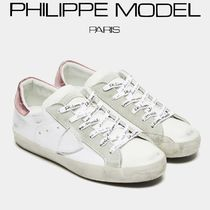 PHILIPPE MODEL PARIS Casual Style Street Style Plain Leather Low-Top Sneakers