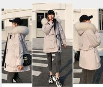 Blended Fabrics Street Style Plain Medium Oversized Parkas