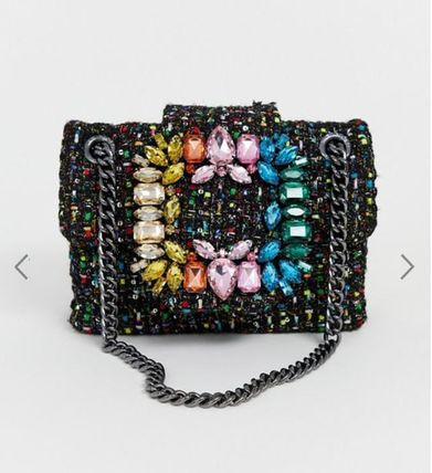 Casual Style Chain Party Style With Jewels Crossbody