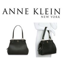Anne Klein Plain Leather Office Style Shoulder Bags