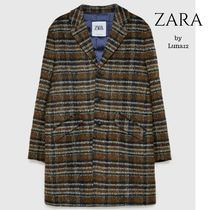 ZARA Other Check Patterns Wool Long Chester Coats