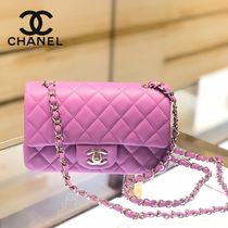 CHANEL MATELASSE Lambskin 2WAY Chain Plain Shoulder Bags