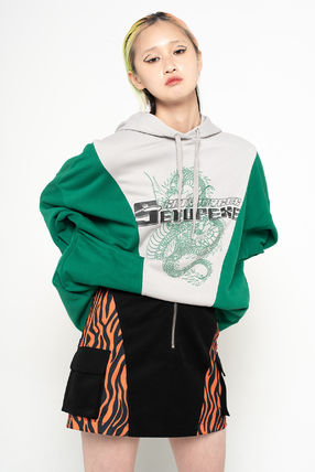 Pullovers Unisex Street Style Bi-color Long Sleeves Cotton