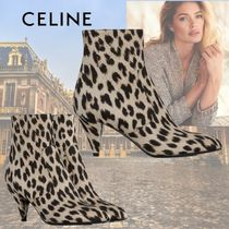 CELINE Leopard Patterns Casual Style Leather Elegant Style