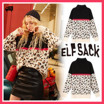 ELF SACK Leopard Patterns Casual Style Street Style Long Sleeves