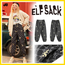 ELF SACK Casual Style Street Style Long Office Style Sarouel Pants