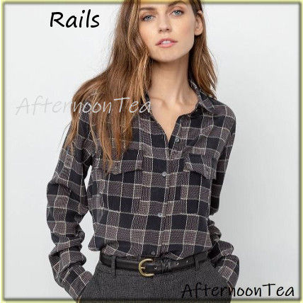 Other Check Patterns Silk Long Sleeves Medium Handmade