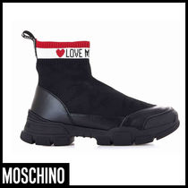 Moschino Street Style Plain Low-Top Sneakers