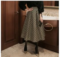 DINT Flared Skirts Casual Style Long Party Style Office Style