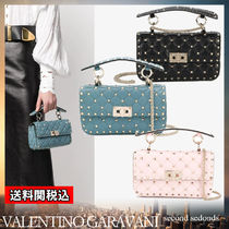 VALENTINO Blended Fabrics Studded 2WAY Chain Plain Leather