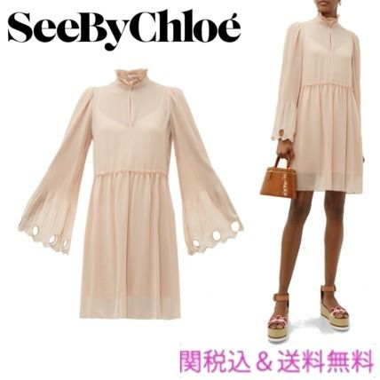 Short Flared Long Sleeves Plain Party Style High-Neck