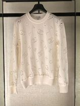 CHANEL Crew Neck Casual Style Long Sleeves Plain Medium Logo Tops