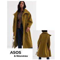 ASOS Stand Collar Coats Casual Style Wool Plain Long Office Style