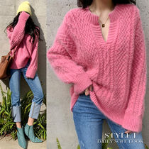 Cable Knit Casual Style V-Neck Long Sleeves Medium Angola