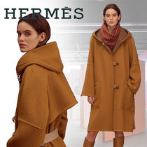 HERMES Casual Style Cashmere Blended Fabrics Street Style Plain