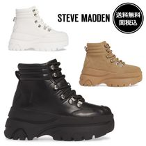 Steve Madden Platform Lace-up Casual Style Plain Leather Lace-up Boots