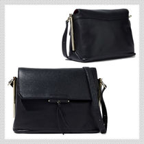 sandro Plain Leather Office Style Shoulder Bags