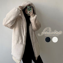 Faux Fur Street Style Plain Medium Oversized Eco Fur
