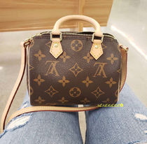 Louis Vuitton SPEEDY Monogram Casual Style Blended Fabrics 2WAY Leather Crossbody