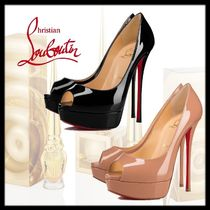 Christian Louboutin Open Toe Enamel Plain Leather Pin Heels