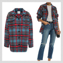 sandro Tartan Casual Style Wool Long Sleeves With Jewels