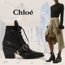 Chloe Rubber Sole Casual Style Plain Leather Party Style