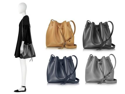 2WAY Plain Leather Purses Elegant Style Shoulder Bags