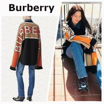Burberry Stripes Cashmere Long Sleeves Cotton Fringes Oversized