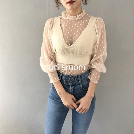 Shirts & Blouses Dots Casual Style Puffed Sleeves Long Sleeves Plain 9