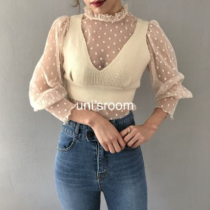 Shirts & Blouses Dots Casual Style Puffed Sleeves Long Sleeves Plain 11