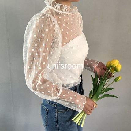 Shirts & Blouses Dots Casual Style Puffed Sleeves Long Sleeves Plain 13