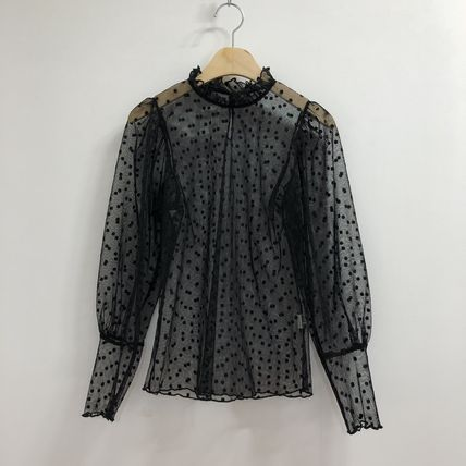 Shirts & Blouses Dots Casual Style Puffed Sleeves Long Sleeves Plain 18