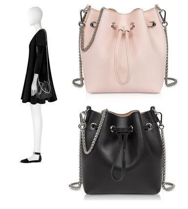 2WAY Chain Plain Leather Purses Shoulder Bags