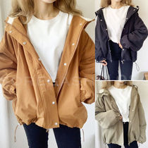 Casual Style Plain Medium MA-1 Oversized Bomber Jackets