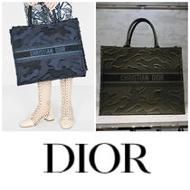 Christian Dior BOOK TOTE Camouflage Canvas A4 Logo Totes