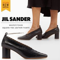Jil Sander Square Toe Casual Style Plain Leather Elegant Style
