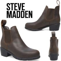 Steve Madden Casual Style Plain Leather Block Heels Chelsea Boots