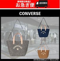 CONVERSE Casual Style Plain Leather Totes
