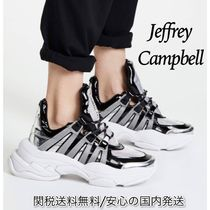 Jeffrey Campbell Round Toe Rubber Sole Lace-up Casual Style Leather