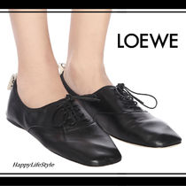 LOEWE Round Toe Lace-up Casual Style Plain Leather Elegant Style