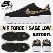 Nike AIR FORCE 1 Leopard Patterns Casual Style Street Style Logo