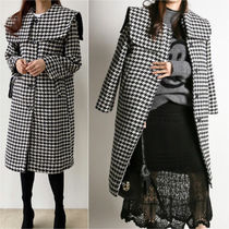 Stand Collar Coats Gingham Stripes Tartan Monogram Zigzag